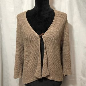 AUGUST SILK BROWN CARDIGAN SWEATER WITH TOGGLE